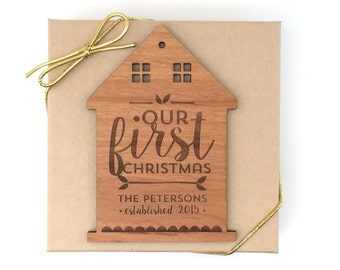 Our First Christmas Ornament, Personalized Wedding Wood House, Custom Laser Engraved House, Our 1st Christmas Home Ornament
