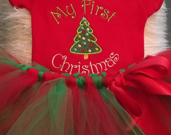 Christmas outfit -My first Christmas Onesie & tutu outfit for baby girl- first Christmas bodysuit for baby girl-embroidery- Christmas gift f