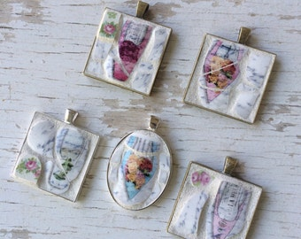 FREE SHIPPING Mosaic pendant - mosaic jewelry - shabby chic pendant - shoe pendant -  oval pendant - rose mosaic tiles - word tiles