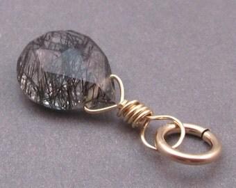 Black Rutilated Quartz Pendant, Tourmalited Quartz Charm, 14K Gold Fill Wire Wrapped Pendant, Black Rutile Charm,  Stone 79