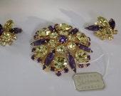 RESERVED--Vintage Sherman set, Sherman brooch, Sherman clip-on earrings, indigo and citrine crystal jewelry,original tag