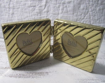 Vintage brass heart double frame photo gift