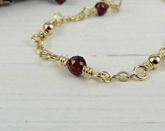 Garnet Gold Anklet, Red Gemstone Ankle Chain, Dainty Ankle Bracelet, January Birthstone