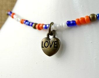 Heart Charm Anklet, Multi Color Ankle Jewelry, Dainty Beaded Ankle Bracelet, Spring Summer, Blue Orange Anklet