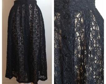 Vintage 1980s long black lace skirt