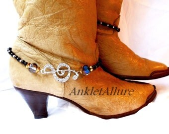 Sing Like A Bird Treble Clef Boot Chains Rhinestone Boot Jewelry Crystal Black Boot Bracelets Silver Boot Chains