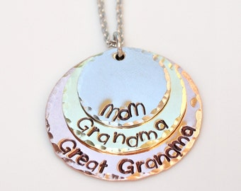 Mom Grandma Great Grandma- Great Grandma Gift - Mom Christmas Gift- Hand Stamped Necklace - Mom Grandma Great Grandma Necklace