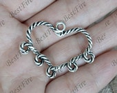 12 pcs of Antique Silver heart circle flower Connector pendant, charm Metal Earring Components ,earring Pendant charm
