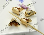 2 pcs 13x15mm 24K Gold Plated Brass Charm flower leaf Pendant Spacer,Charms Jewelry Findings,metal brass spacers findings beads