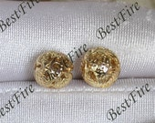 2 pcs 9x10mm 24K Gold Plated Brass fish Hollow Filigree ball Charm Pendant Spacer,Charms Jewelry Findings,metal brass spacers finding beads