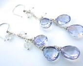 Mystic Blue Quartz Earrings. Drop Earrings. Gemstone Jewelry. Christmas Gift.