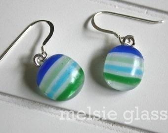 Preppy Stripe dangly glass earrings - white glass earrings with blue, green, turquoise stripes