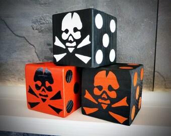 "Jumbo Lawn Yard Wood Dice - Halloween Skull & Crossbones Orange/Black 3.5"" - Yahtzee, Bunco, Farkle, Holiday Home Decor"