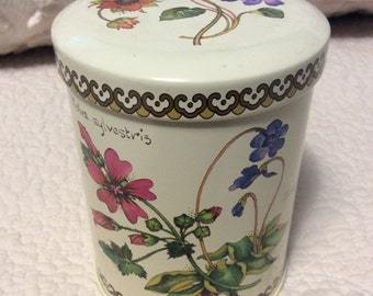Vintage WILDFLOWER Botanical Tin Container Cream by Baret Ware of England