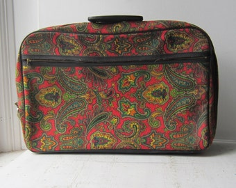 Vintage Paisley Suitcase with Key