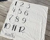 Milestone Blanket-Infant Photo Shoot- Monthly Baby Photo Prop- Baby Blanket