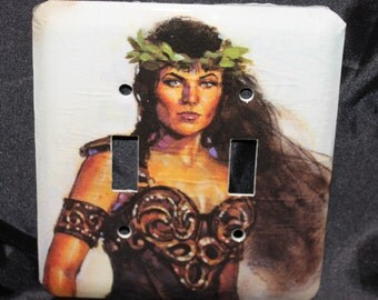 Xena Warrior Princess Lucy Lawless Vintage Comic Book Resin Switchplate Wall Plate Double Light Cover
