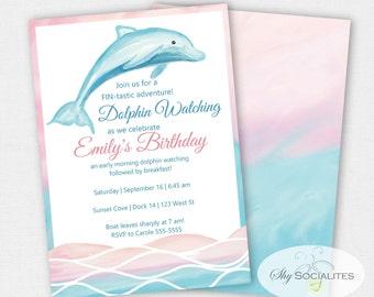 Free dolphin birthday party invitations dolphin invitation etsy filmwisefo