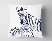 Navy Nursery Decor , Navy Safari Nursery , Boy Room Zoo Navy Decor , Zebra Pillow, Kids Mama Baby Zebra Pillow, Baby Gift Boy Navy