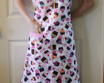 Womens Full Apron in Cupcake Print with Pink Polka Dot Trim - Butcher Apron, Womans Apron, Simple Apron