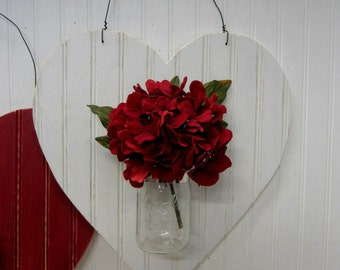 White Heart Shaped Bead Board Mason Jar Wall Vase Valentine Decor Wreath Alternative