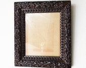ON SALE Old Picture Frame Ornate Gesso Frame with Leaves and Wood Knots Dark Brown Distressed 8 X 10