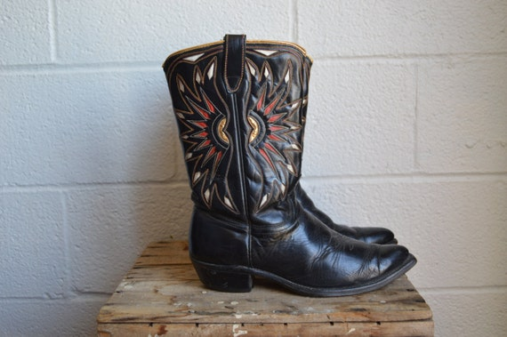 1950s acme boots cowboy boots black leather with gold piping