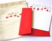 Valentine Letterpress Cards You Light Up My Life with Cotton Muslin Sack