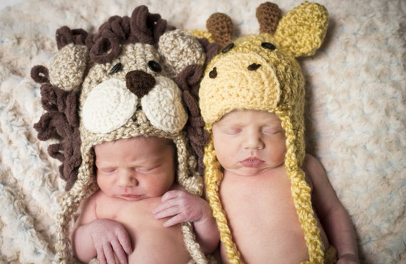 Lion and Giraffe Hat Pair - Twin Baby Hats - Baby Hats -  Twin Photo Prop Set - Twin Halloween Costume Hat Duo - by JoJo's Bootique