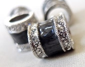 14mm Black Enamel with Antiqued Silver and crystal rhinestone banding, large hole beads, 14mm x 14mm, hole diameter 8mm, package of 4