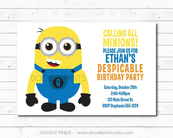Minion Invitation Printable Minion Birthday Invitation Minion