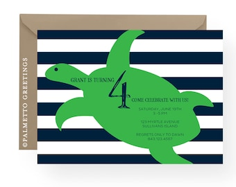 Sea Turtle with Nautical Stripes Birthday Party Invitation - Great for Aquarium Birthday Party - Available in any color