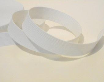 "White Flat Braided Elastic, 1 1/4"" Wide, 5 Yards, Sewing Supplies, elas003/5"