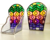 Reserved for Jodi Vintage Stained Glass Tea Light Holders