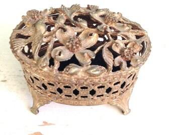 Vintage Gold Ornate Oval Jewelry Box