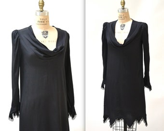 Vintage Black Silk Dress Size Medium with Cowl Neck// 80s Black Silk Dress Size Medium with Lace trim