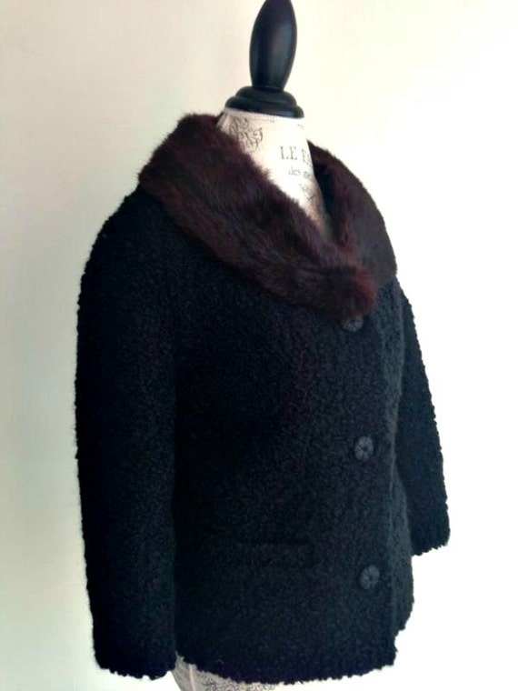 ViNtAgE 50s 60's Black faux CURLY LAMB with Real Fur Collar Jacket Steampunk Hollywood Opera astrakan astrakhan Coat