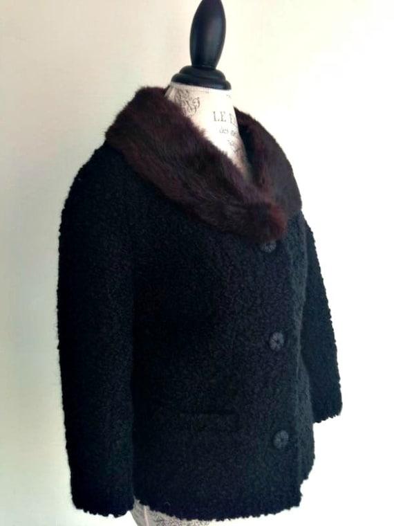 ViNtAgE 50s 60's Black faux CURLY LAMB with Real Fur Collar Jacket Steampunk Hollywood Opera astrakan astrakhan Coat
