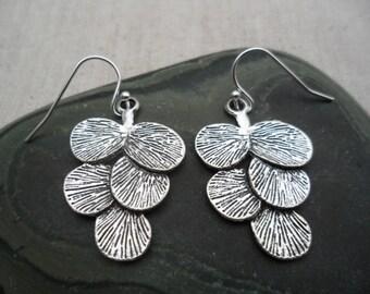 Silver Leaf Earrings - Silver Ginko Earrings - Silver Branch Earrings - Earthy Jewelry