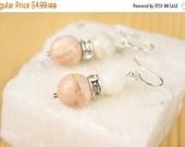 Christmas in July Pink White Peruvian Moonstone Gemstone Sterling Silver 925 Wire Hook Earrings