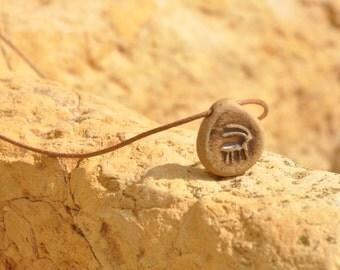 ceramic necklace primitive ibex ceramic pendant ancient jewelry earth rustic nature