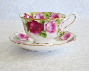 Vintage Royal Albert Tea Cup and Saucer, English Bone China Teacup and Saucer Set, Old English Rose Royal Albert Cup and Saucer