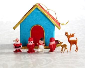 Vintage Mini Putz House Craft Kit, Miniature Ornament Kit, Mini Putz House Kit w Santa & Friends, Vintage Crafts Supply  SwirlingOrange11