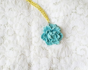 large light blue peony blossom -long necklace (big floral cabochon on bright yellow chain)