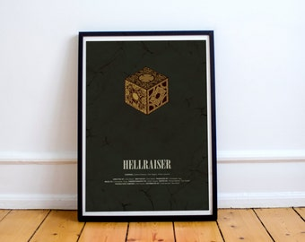 A Universe of Endless of Horror // Hellraiser - Alternate Horror Movie Poster // Golden puzzle box and rough, coarse textured vintage print