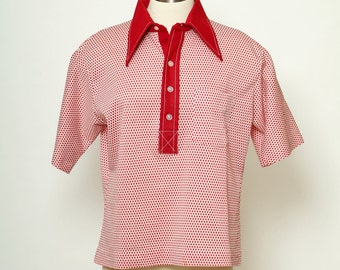 Vintage top / Men's 70s / Mens Shirts Vintage shirts / Disco Hippie / 60s Shirts / butterfly collar /gift for men/ Pointed collar /Polyester