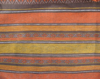 REDUCED-Southwest Aztec horizontal stripe woven look vintage fibreglass like curtain papery brown rust gold