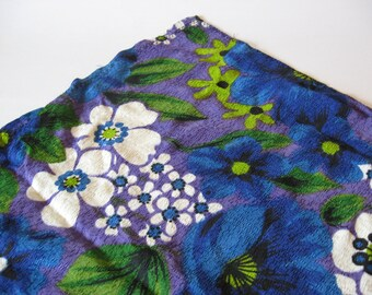 Tiki fibreglass floral handmade curtain panel mid century mod vintage blue purple pinch pleat green white