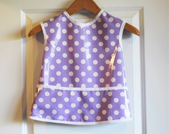 Toddler Waterproof Art Smock Bib with Purple with Dots