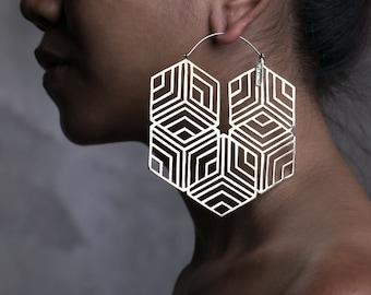 Hexagonal Hoop Earring - Big Hoops - Big Earrings - Statement Earrings -  Boho Hoops